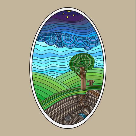 color in: el color de la onda árbol en campo de hierba y el espacio subterráneo