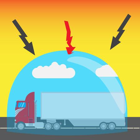 assure: truck cargo insurance Illustration