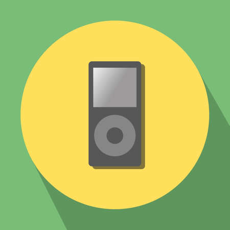 portative: classical compact portative music player on yellow-green background Illustration