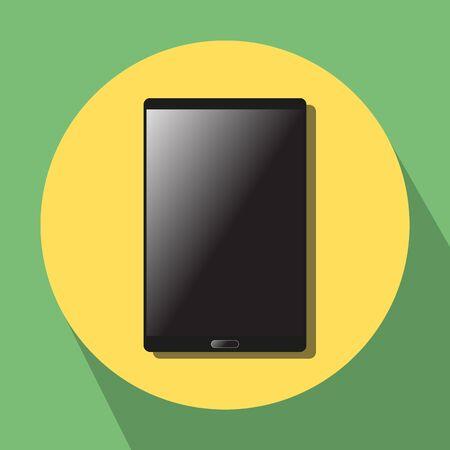 portative: black sensor tabletphablet on yellow-green background