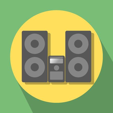 hifi: Hi-Fi center on yellow-green background Illustration