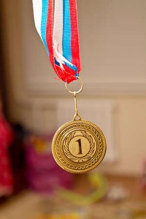 primer lugar: medalla muestra el primer lugar Foto de archivo