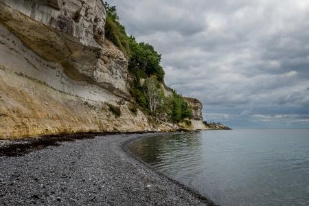 Limestone slopes and beach at Stevns, Denmark