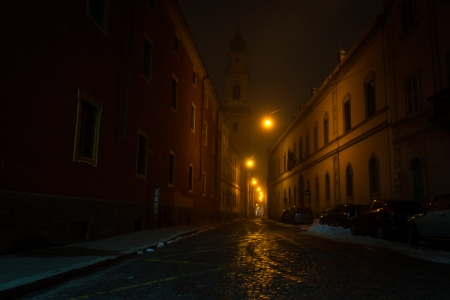 Narrow street in Parma at fuggy evening
