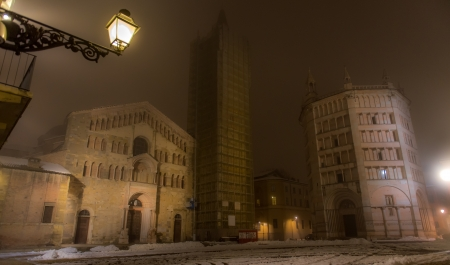 Cathedral in Parma at foggy night