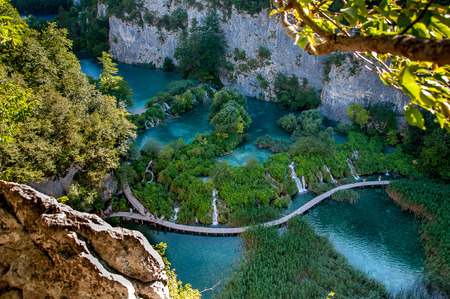 bird view: Bird view of walkway along hanging lake in Piltvica National Park, Croatia, Europa