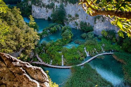 Bird view of walkway along hanging lake in Piltvica National Park, Croatia, Europa