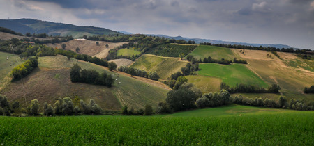 Agricultural fields in rolling hills in Italy