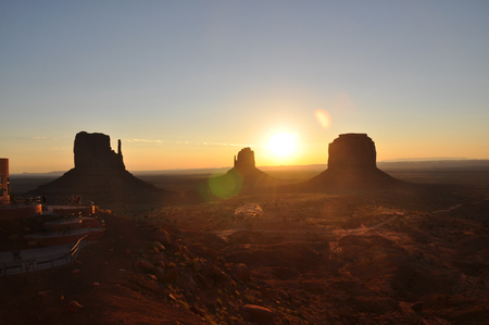 monument valley view: Sunrise in Monument Valley