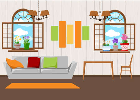 Beautiful design elements, illustration of living room furniture in mid century modern style