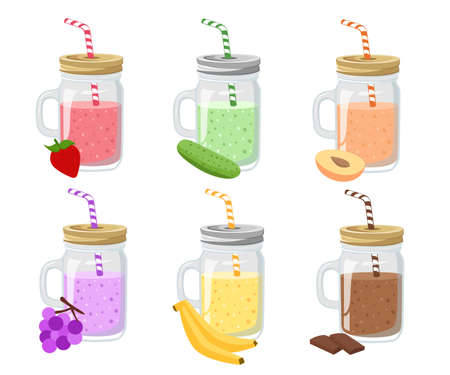 detox: Collection of ten healthy fruit smoothies in flat style. Fresh juice for healthy life. Menu element for cafe or restaurant. Set of summer fresh smoothies in mason jar and detox water.