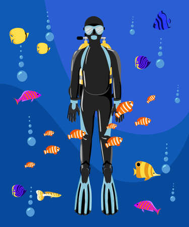 Diving collection. Sport underwater water sea glove and flashlight. 向量圖像