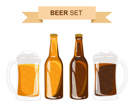 types of glasses: Beer set. Beer glasses different types