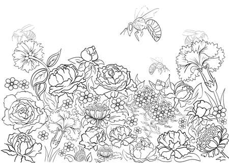 printable coloring pages: Hand drawn ink pattern. Coloring book for adult