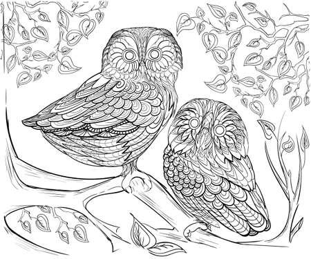 niños con lÁpices: Dibujado a mano dibujo de tinta. Libro de colorante para los adultos