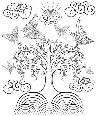 printable coloring pages: Hand drawn ink pattern. Coloring book for adult.