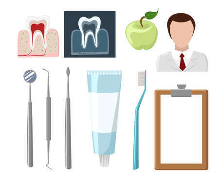 stomatologist: Dental care flat decorative icons set with stomatologist tools teeth care products isolated vector illustration caries clinic prosthetics tooth hygiene dentist tools Stomatologist. Illustration