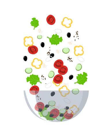 Recipe of salad cooking collection background salt pepper spices asparagus Greek salad menu restaurant.