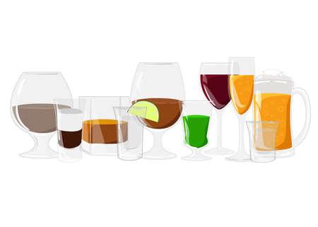 absinthe: Las bebidas alcoh�licas conjunto diferente botella de alcohol y vasos. bebidas alcoh�licas y bebidas. estilo de dise�o plano. Co�ac tequila vino whisky licor de ajenjo Vectores