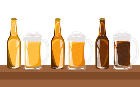 types of glasses: Beer vector set. Beer glasses different types