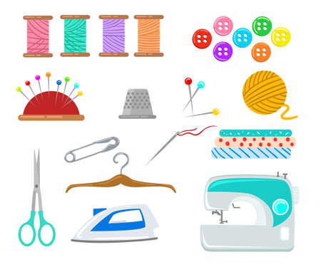 needle cushion: Set of objects for sewing, handicraft. Sewing tools and sewing kit,sewing equipment, needle, sewing machine, sewing pin, yarn.