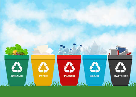 basura organica: Reciclar los contenedores de basura. concepto de separaci�n. Conjunto de residuos de pl�stico de la bater�a org�nica metal papel cristal. categor�as de basura