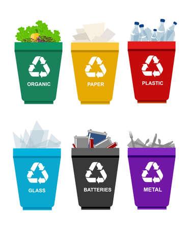 Bereiten Sie Mülltonnen. Die Trennung Konzept. Set Abfälle aus Kunststoff organischen Batterie Glas-Metall-Papier. Trash Kategorien