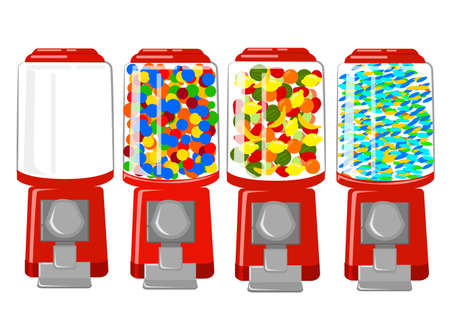 gumball: Vending machine vector Illustration flat Design Elements. Vector Gumball machine illustration
