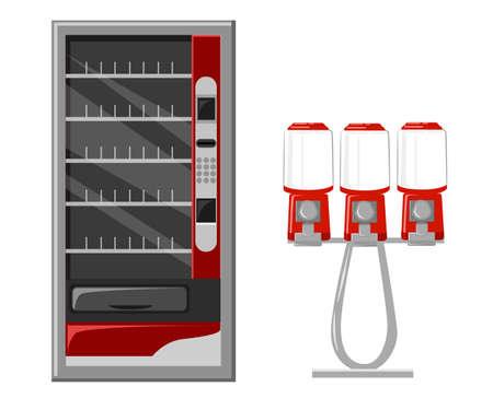 Automaat vectorIllustratie platte design elementen. Vector Gumball machine illustratie