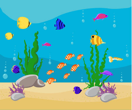 ocean background: Fish collection Ocean Cartoon underwater world with fish, plants, island Aquarium Fish set