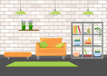 mid century: Beautiful design elements, Vector illustration of living room furniture in mid century modern style Illustration