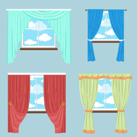 window shades: Curtains drapery shades blinds.Vector collection of various window treatments Flat style. Background for use in design, web site, packing, textile, fabric decorative elements for interior. Illustration