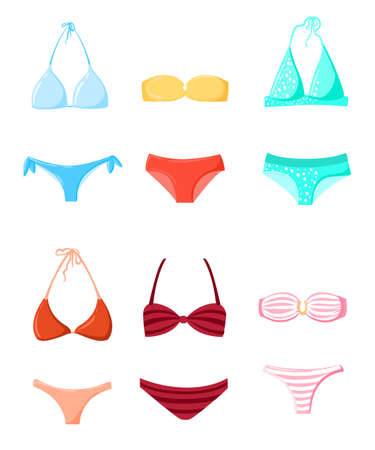 sunbath: Bathing suit Swimming suits Summer vacation, design elements vector Bikini silhouette set Beach time Different swimsuit Illustration