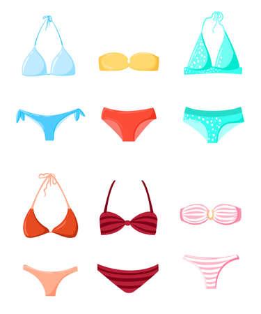 Traje de baño trajes de baño vacaciones de verano, elementos de diseño de la silueta del vector del bikini establecer el tiempo de la playa del traje de baño diferente