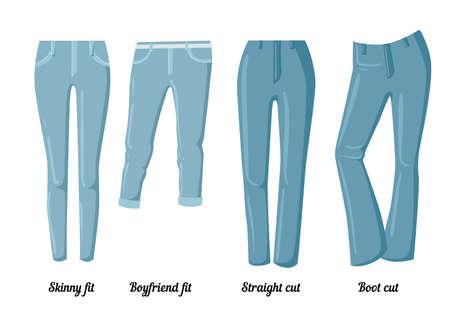 Collecties van kleding, zes vector kleurrijke spijkerbroeken van verschillende stijlen.