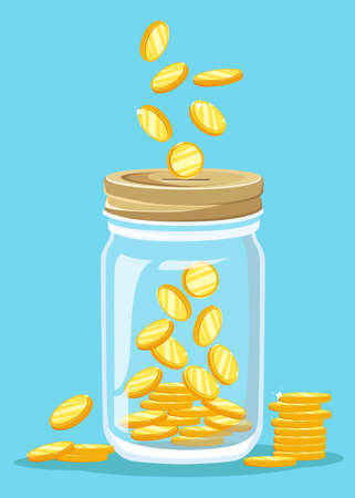 Money Jar. Enregistrement pièce d'un dollar dans un bocal. notion illustration vectorielle Design plat style vecteur illustration. Enregistrement pot d'argent.