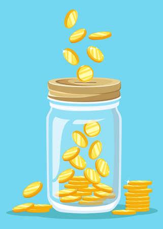 Money Jar. Saving dollar coin in jar. concept vector illustration Flat design style vector illustration. Saving money jar. Vettoriali