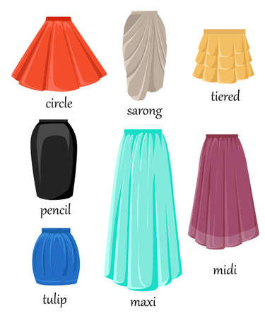 Vector illustration of different model and color skirt isolated on white background.