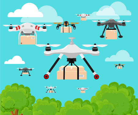 hovering: Hand draw vector illustration aerial vehicle quadrocopter. Air drone hovering. Drone sketch.