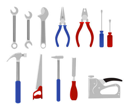 pegboard: Repair and construction working tools.Tools for carpentry and home renovation hanging on a pegboard
