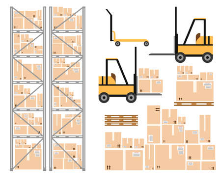 forklifts: Vector warehouse icon. Warehouse load boxes and barrels to stacks using forklifts.