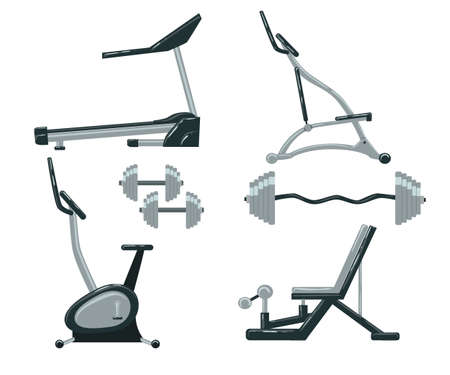 exercise machine: Exercise machine. Gym equipment gym workout exercise machines in a flat style. vector Sports Equipment