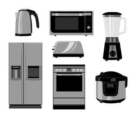 technics: Set of household kitchen technics: Microwave and Oven, grinder. Vector drawing. Vector illustration in the flat style