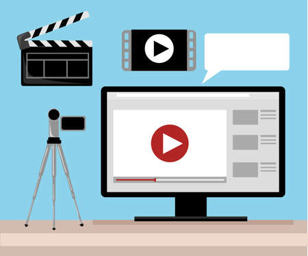 editor: Video production Video Editor Desk Workplace Web Banner Flat Vector Illustration. Flat design