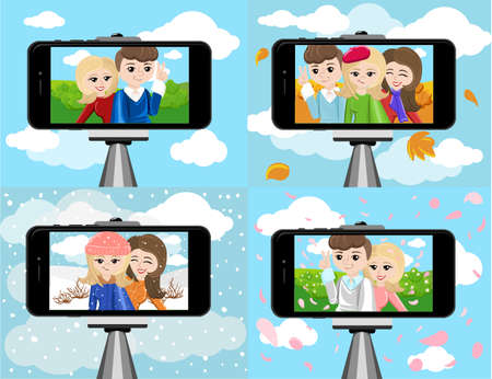shots: stick for selfie. Monopod Selfie shots cartoon vector illustration.Young couple making self portrait. Selfie stick concept vector illustration selfie Illustration