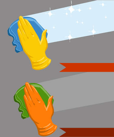 detergent for cleaning windowsConcept background for cleaning service. Hand in yellow glove cleans the window Vector Illustration