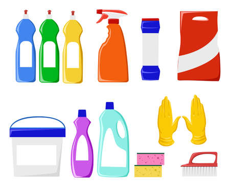 packaging equipment: Detergents vector set. Cleaning tools vector set. Detergents for cleaning home. Household supplies and cleaning flat icons