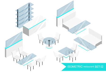 restaurant interior design: Isometric restaurant. Interior of the restaurant . isometric graphic, interior room