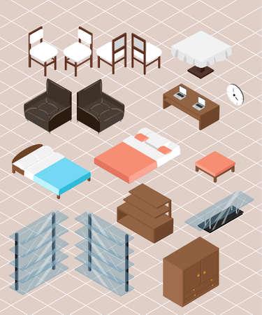 furniture design: Isometric furniture collection. interior design concept set.