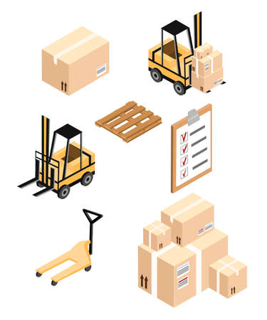forklifts: Vector isometric warehouse icon. Warehouse load boxes and barrels to stacks using forklifts Illustration